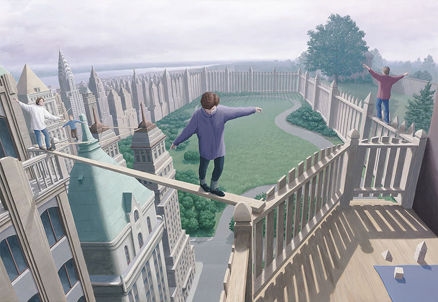 Illusions d'optique peintures Rob Gonsalves