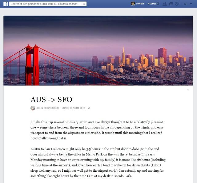 Facebook notes, articles