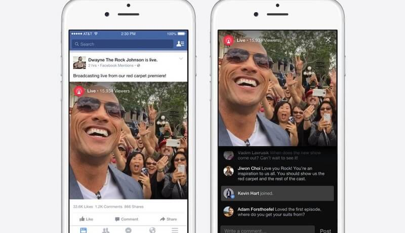 Facebook, notifications, live vidéos
