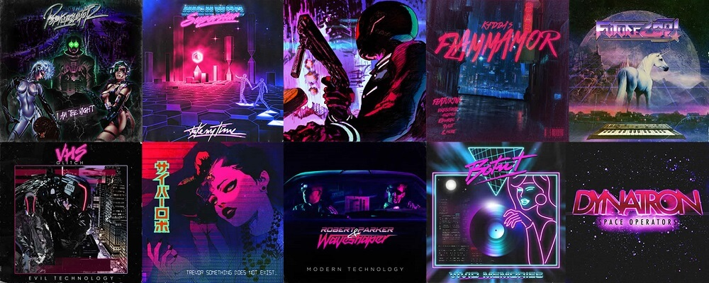 Synthwave, pochettes d'albums