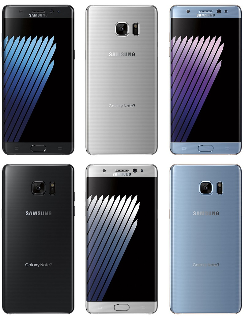 Coloris du Samsung Galaxy Note 7