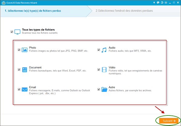 Logiciel EaseUS Data Recovery, fichiers