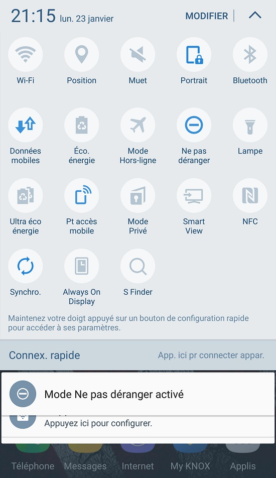 Ruban des notifications sous Android